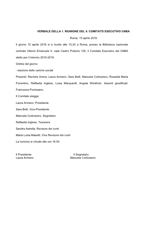 Riunione comitato esecutivo CNBA Roma Aprile 2016